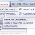 Create New CAD Document Action Available in SolidWorks